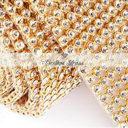 Manta De Strass Cristal Dourada - 10cm x 45cm