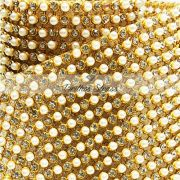 Manta De Strass Pérola Com Cristal - 1,20cm x 45cm