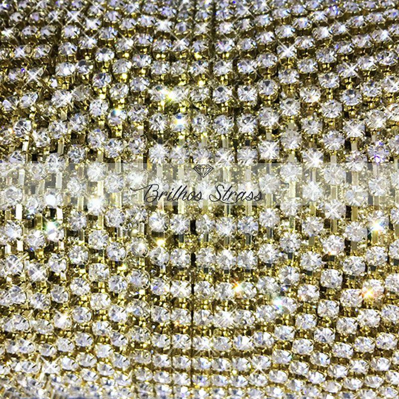 Corrente de Strass Dourado SS08 - 1MT - Altíssima Qualidade