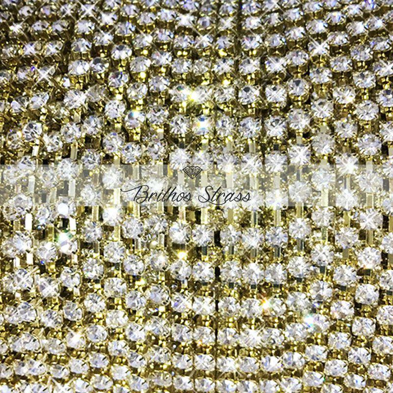Corrente de Strass Dourado SS12 - 1MT - Altíssima Qualidade