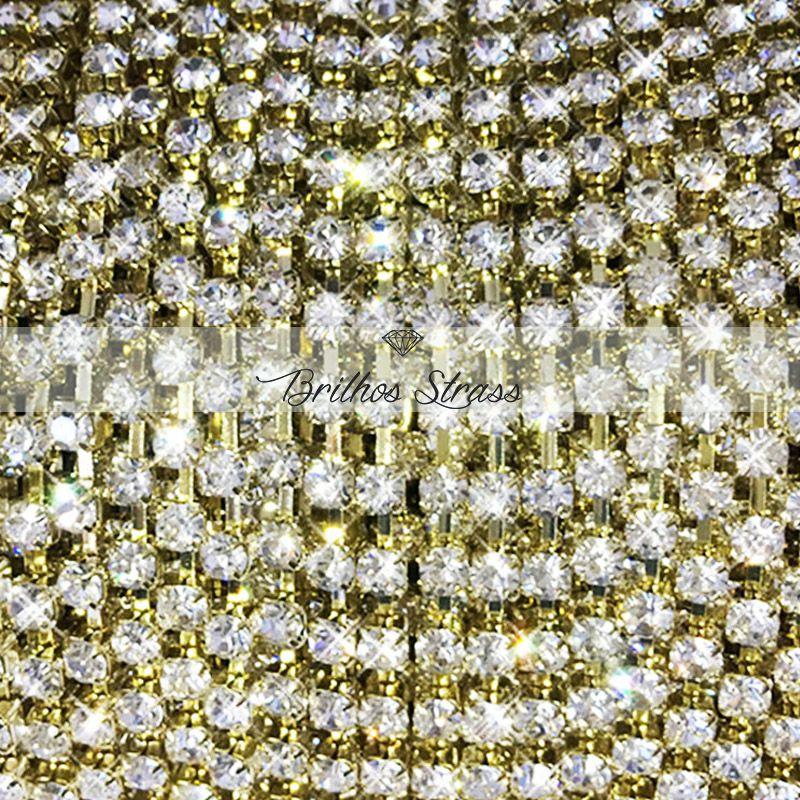 Corrente de strass Dourado SS14 - 1MT - Altíssima Qualidade