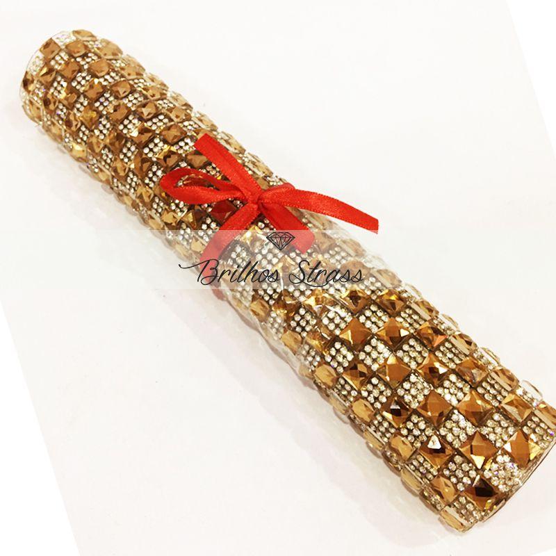 Manta Chaton Dourada c/ Strass Cristal - 24cm x 40cm - Altíssima Qualidade