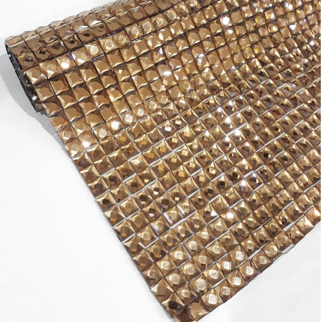 Manta Chaton Quadradinho Dourada - 12cm x 40cm - Altíssima Qualidade