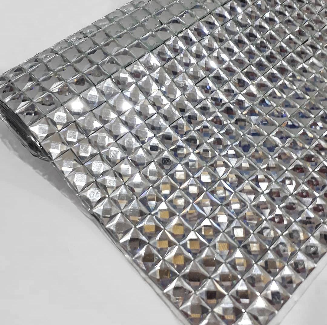 Manta Chaton Quadradinho Prata - 12cm x 40cm - Altíssima Qualidade