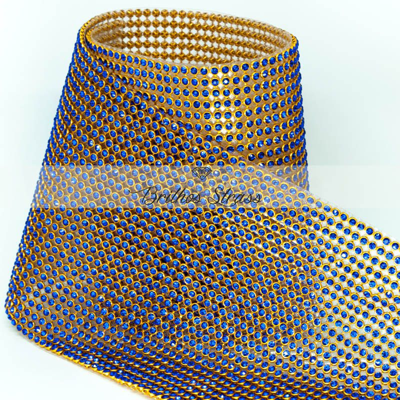 Manta De Strass Azul - 10cm x 45cm
