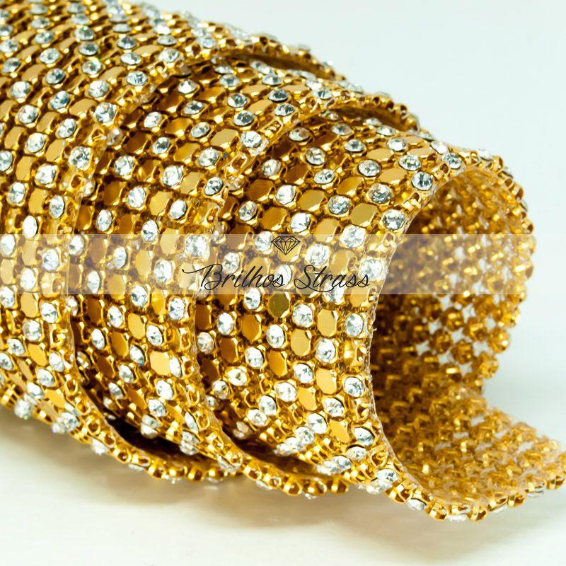Manta De Strass Chapinha Dourada - 10cm x 45cm