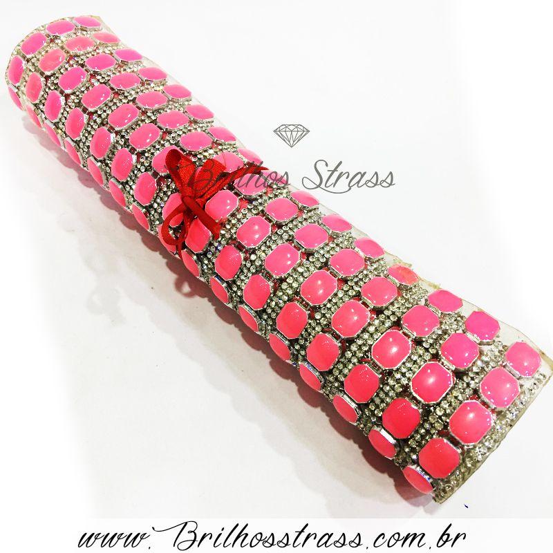 Manta de strass Chaton Rosa - 24cm x 40cm - Altíssima Qualidade