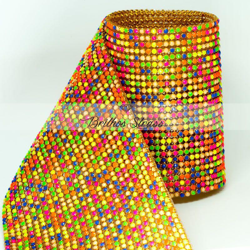 Manta De Strass Colorido Chiclete - 1,20cm x 45cm