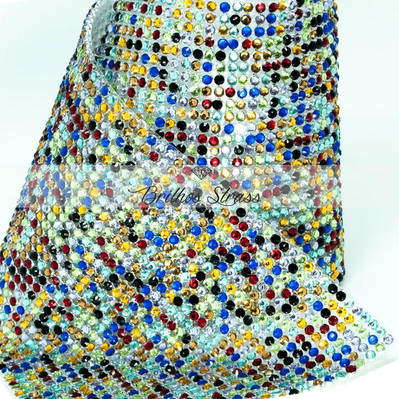 Manta De Strass Colorido Multicolor Resina - 1,20cm x 45cm