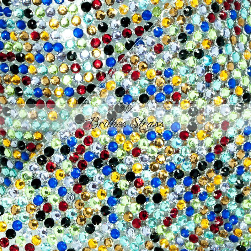 Manta De Strass Colorido Multicolor Resina - 10cm x 45cm