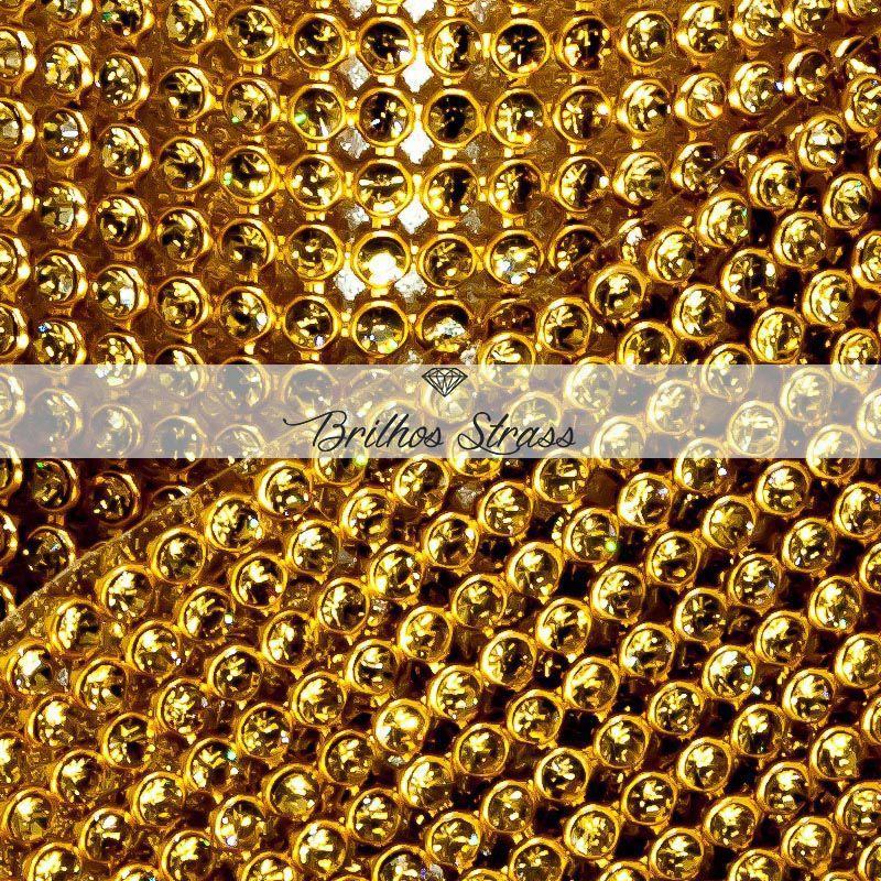 Manta De Strass Dourada Mel Topázio - 1,20cm x 45cm
