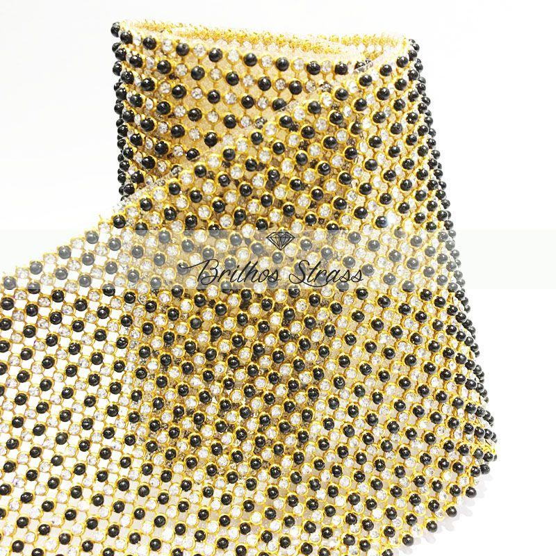 Manta Des Strass Com Pérola Escura -  1,20cm x 45cm