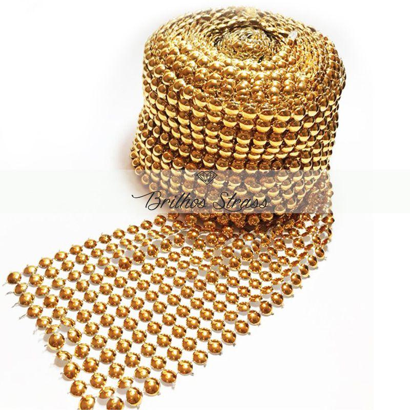 Manta Meia Pérola Dourada - 1MT x 10,5CM - Altíssima Qualidade