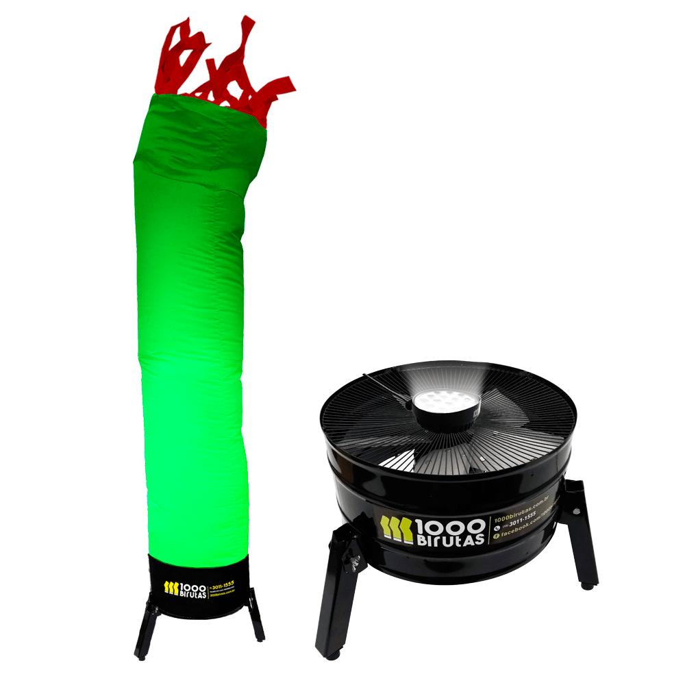 Biruta Canudo Colorida com Peruca e Exaustor LED