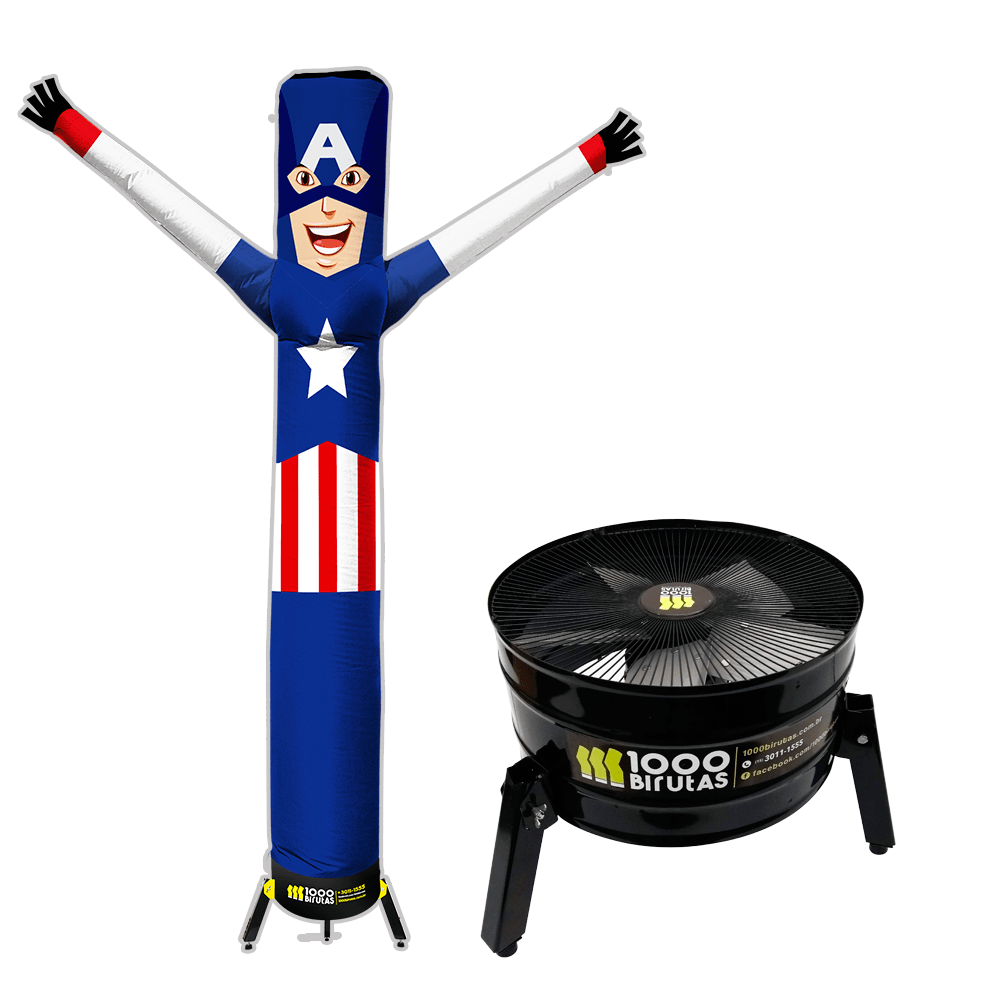 Boneco de Posto Biruta com Exaustor Capitão América