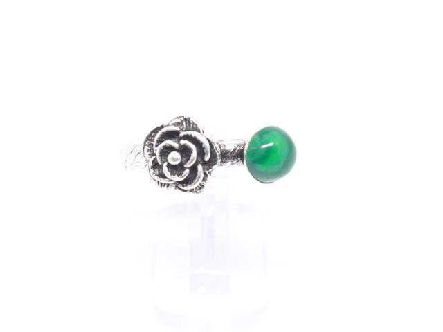 Anel Flor com Pedra Malaquita (Verde) Lateral