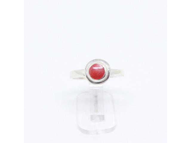 Anel Pedra Coral Vermelha