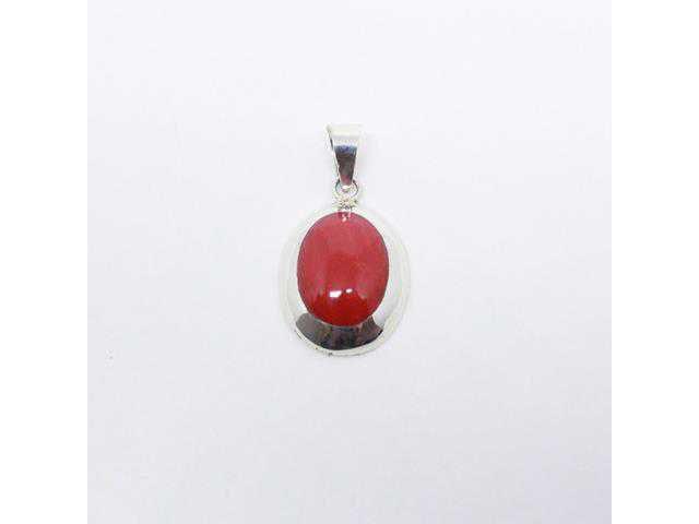 Pingente Oval Pedra Vermelha Coral