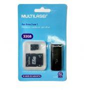 Cartão de Memória 32gb Classe 10 com Kit Adaptador Multilaser MC113