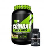 Combat 100% Whey 907g Muscle Pharm + Thermo Flame 60 Tablets Black Skul
