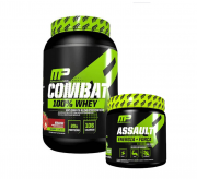 Combat 100% Whey 907g + Pré Treino Assault 300g Muscle Pharm