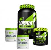 Combat 100% Whey + Glutamine 300g + Creatina 300g + Assault 300g Muscle Pharm