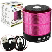 Mini Caixinha de Som Rosa Bluetooth, USB Speaker WS-887