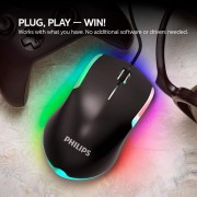 Mouse Gamer Philips Momentum G314 Led Usb Óptico 7 Cores