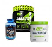 Pré Treino Assault 300g + Glutamine 300g Muscle Pharm + Bcaa 90 caps Nutrilatina