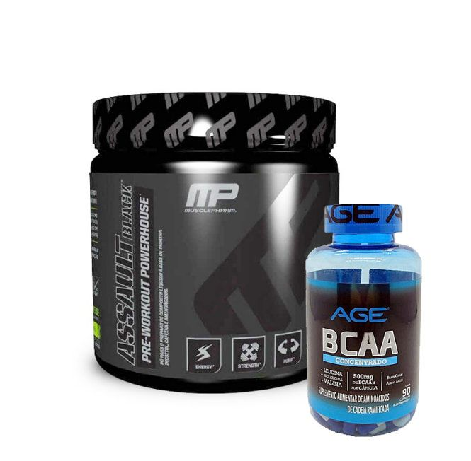 Assault Black 300g Muscle Pharm e Ganhe Bcaa 90 caps Nutrilatina