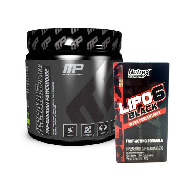 Assault Black 300g Muscle Pharm + Lipo 6 Black Ultra Concentrado 120 caps Nutrex