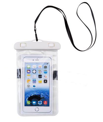 Bolsa Capa A prova D'água para Celular IPX8 Branca