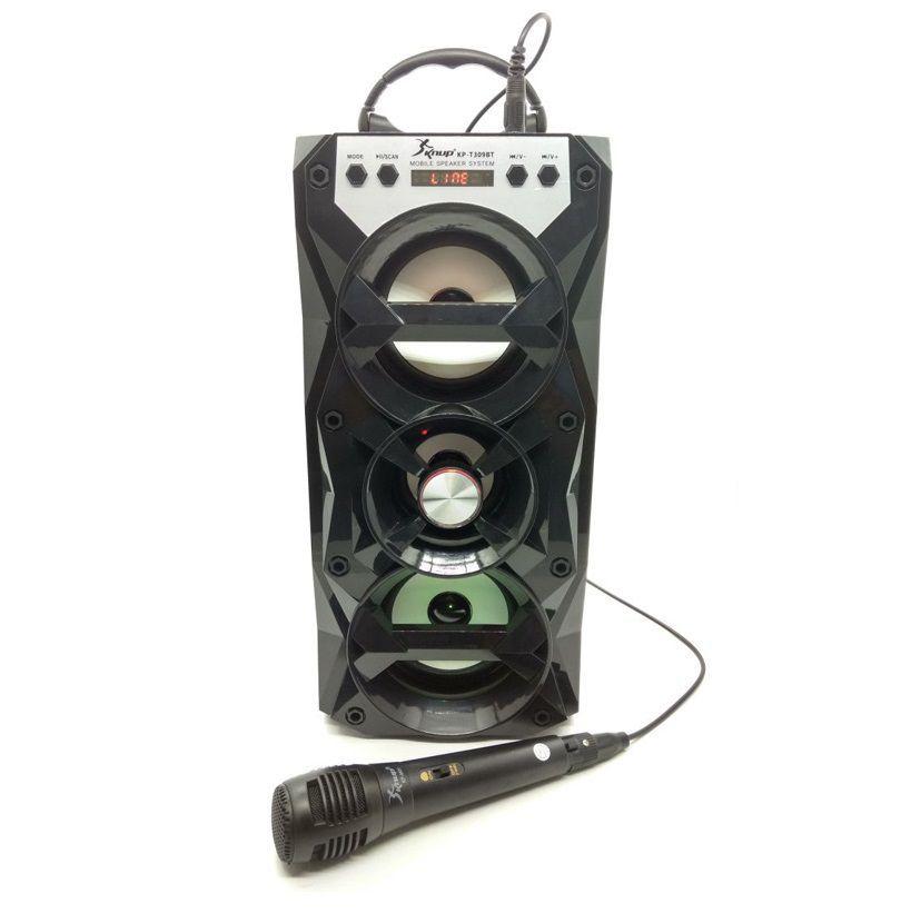 Caixa de Som Bluetooth, USB, AUX Com Microfone e Controle Knup KP-T309BT