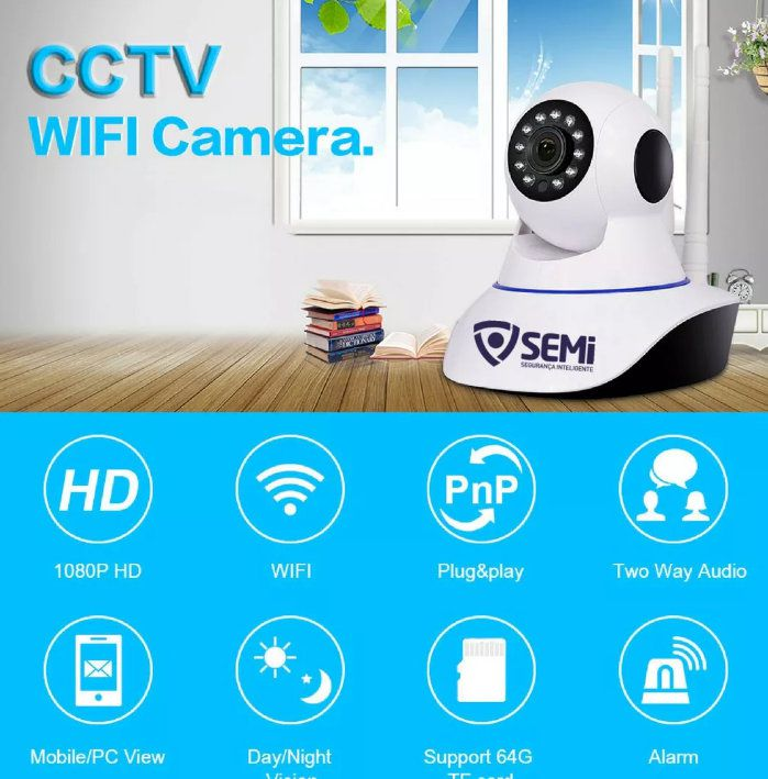 Câmera Ip de Monitoramento Wifi 2 Antenas Onvif Semi SC-B1