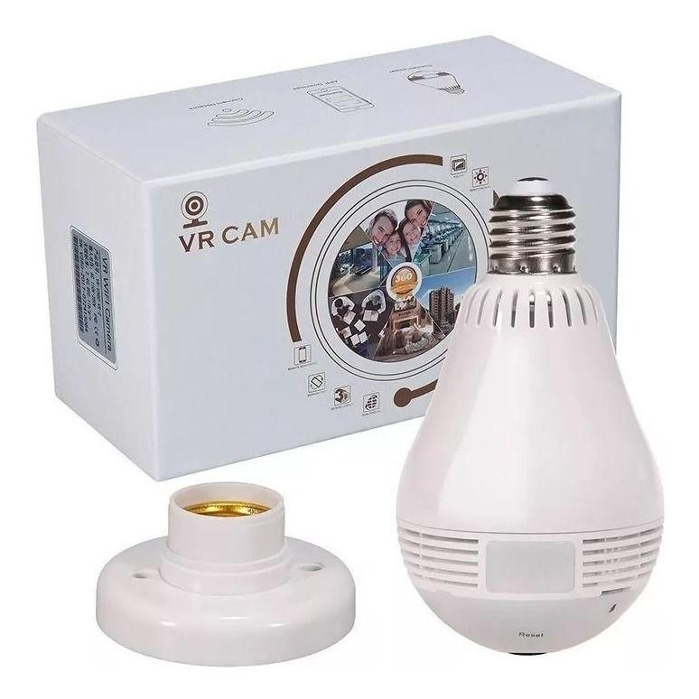 Câmera Lâmpada de Monitoramento Espiã Wi-fi Ip 360° VR CAM