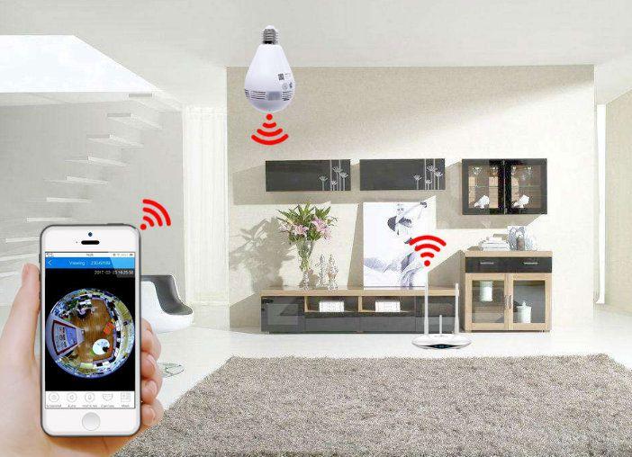 Câmera Lâmpada de Monitoramento Wifi Espiã Ip 360° Fisheye B13 L-V2