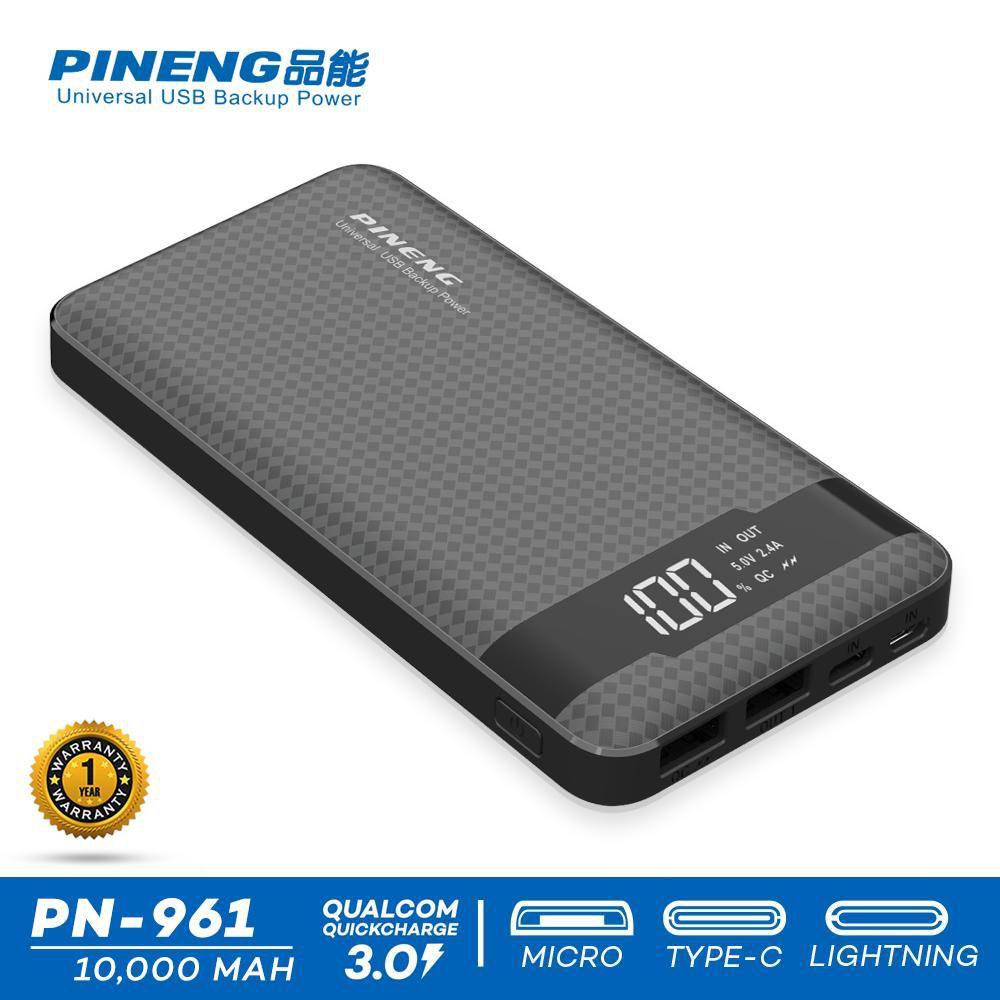 Carregador Power Bank 10000mah Pineng type C PN-961 Preto