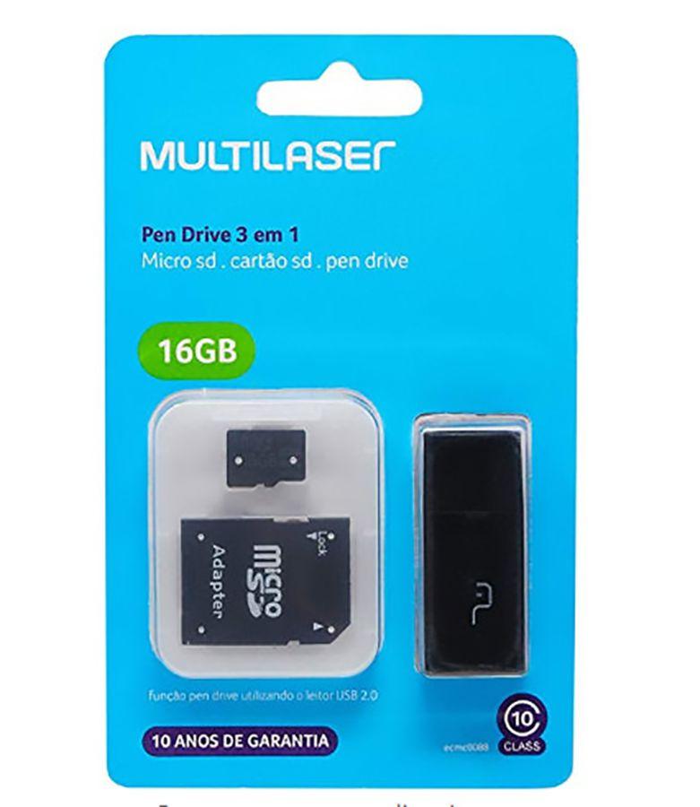 Cartão de Memória 16gb Classe 10 com Kit Adaptador Multilaser MC112