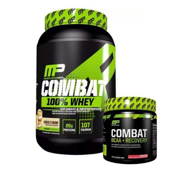 Combat 100% Whey 907g + Combat Bcaa + Recovery 400g Muscle Pharm