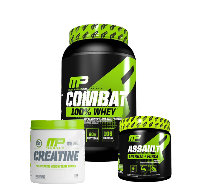 Combat 100% Whey 907g + Creatina 300g + Pré Treino Assault 300g Muscle Pharm