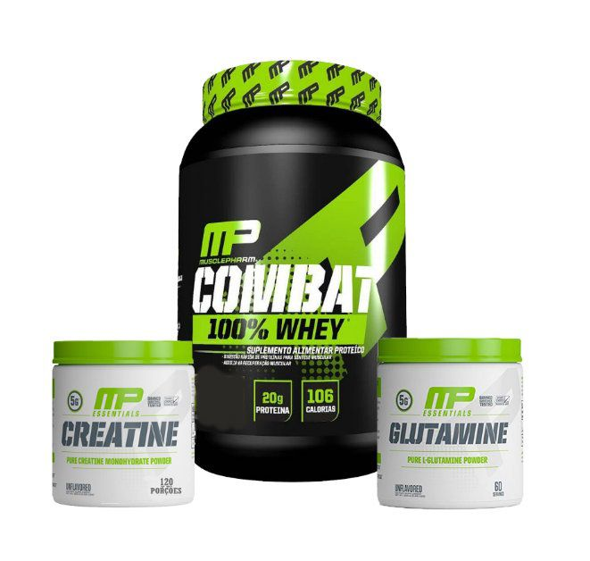 Combat 100% Whey + Creatina 300g + Glutamina 300g Muscle Pharm