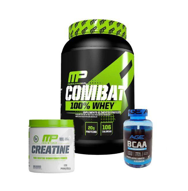 Combat 100% Whey + Creatina 300g Muscle Pharm + Bcaa 90 Caps Nutrilatina