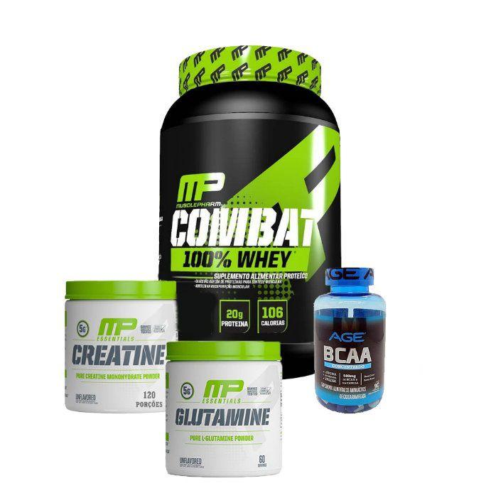Combat 100% Whey + Creatina 900g + Glutamina 900g Muscle Pharm + Bcaa 90 Caps Nutrilatina