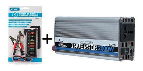 Conversor Inversor Knup 2000w 24v 110v Para Carro Caminhão +  Medidor de  bateria