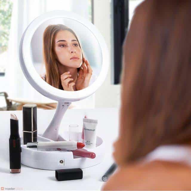Espelho de Maquiagem com Luzes de Led FoldAway