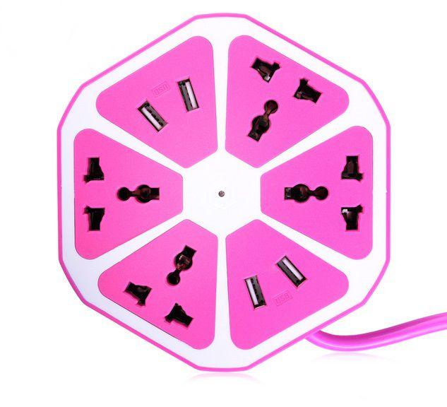 Extensão e Filtro Elétrico com 4 Portas Pétalas Rosa