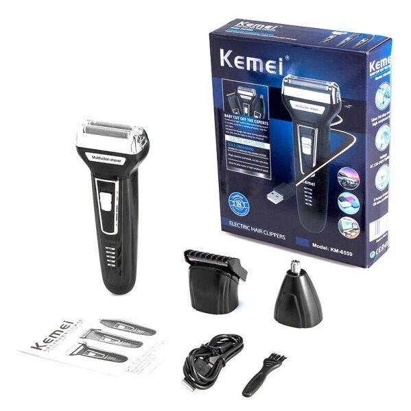 Maquina de Cortar cabelo e barba 3 em 1 Km-6776 Kemei