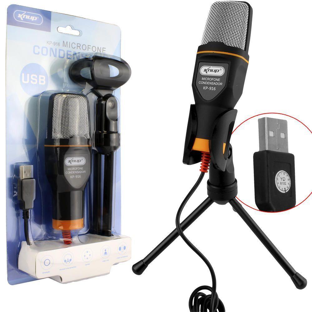 Microfone de Áudio Condensador USB Knup Kp-916