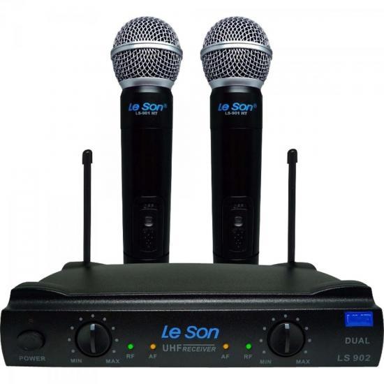 Microfone Duplo sem Fio LS902-UHF-HT/HT Preto LESON