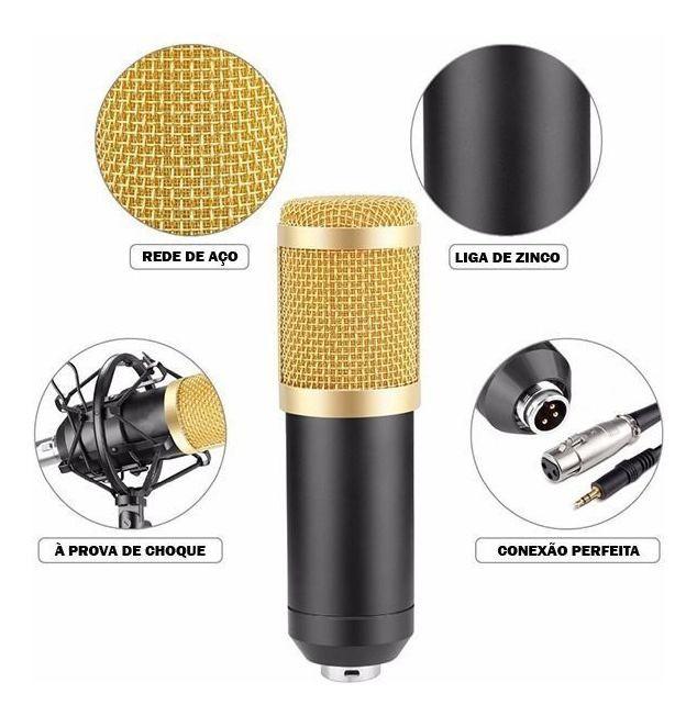 Microfone Estúdio Profissional Condensador Bm-800 B-Max
